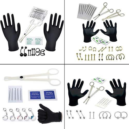 Lai-LYQ Professionelle Piercing Tool Kit, Frauen Ohr Nase Nabel Nippel Edelstahl Nadeln Set Für Strand, Party, Tanz, Pub # 6
