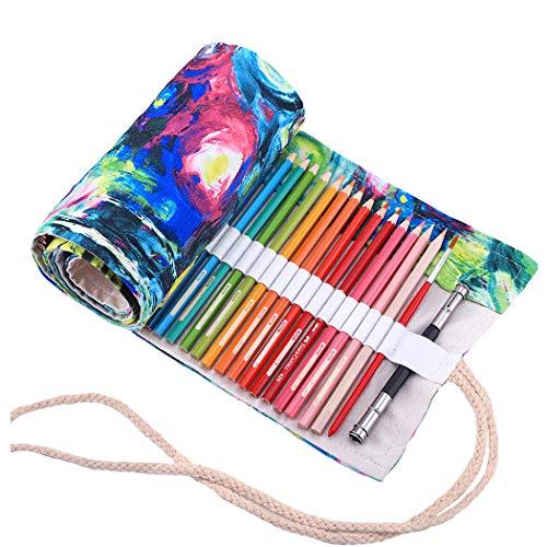 Amoyie - Sacchetto della matita portamatite arrorolabile per 36 matite colorate porta penne tela wrap borse organizer astuccio portapenne scuola cassa del supporto di matita viaggio mentore, oil 36