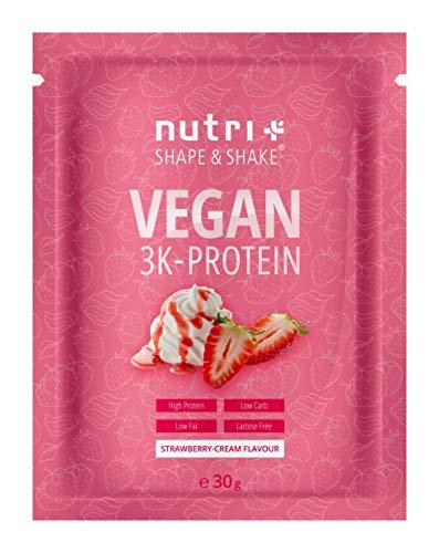 PROTEIN PULVER VEGAN Erdbeer Sahne Probe 30g - 83,7{8b643bd2e048e3027d86732200c43dd0d46ef6454e30c833e6d11dabec0cc796} Eiweiß - Nutri-Plus Probiergröße - pflanzliches Eiweißpulver - Veganer Proteinshake Strawberry Cream