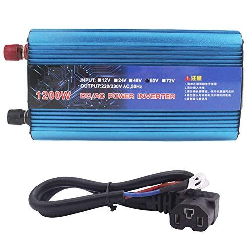 J-Love Inversor de Corriente de Coche Pico de 1200 W/2200 W DC 48 V/60 V a CA 220 V Transformador convertidor de Cargador USB para vehículo camión RV camioneta