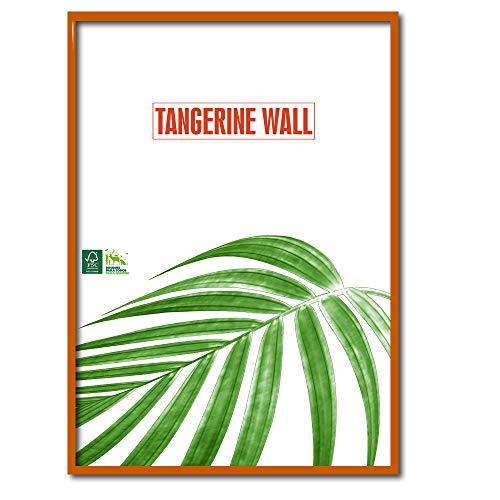 Tangerine Wall Marco Fino de Madera auténtica de 50x70 cm en Todos los Colores de Moda (Naranja)