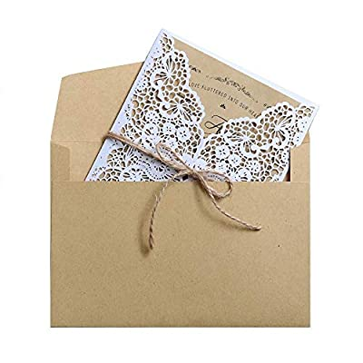 20 Pieces Wedding Invitations Cards Laser Cut Handmade White Kit with Envelopes Brown Kraft Card Inserts for Marriage Engagement Wedding Baby Shower Birthday Party Supplies