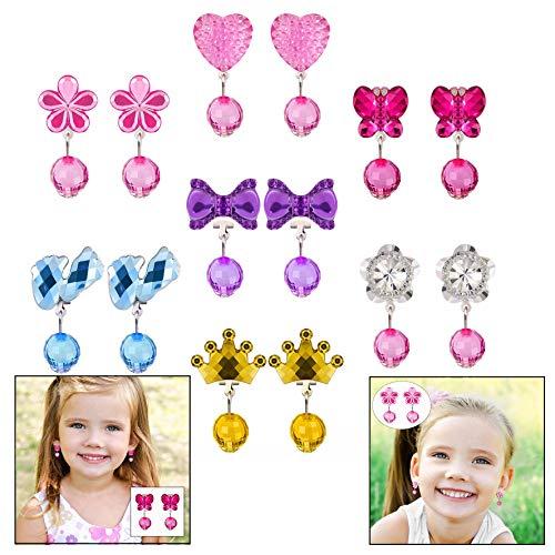 LHKJ 7 Stks Leuke Meisje Oorbellen Speel Set, Clip Op Oorbellen Set met Roze Doos Voor Pretend Speel Prinses
