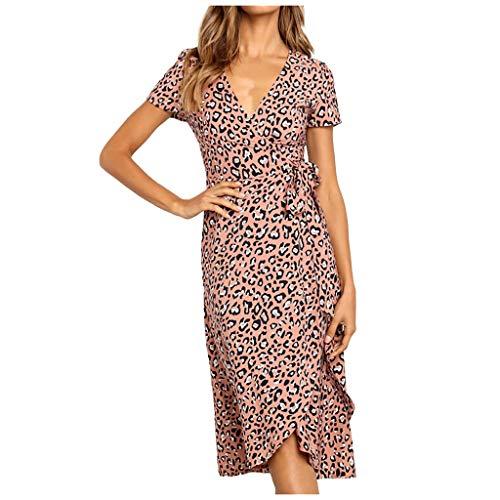 Vestido de Fiesta Noche Largo para Mujer Cuello V Gasa Vestido de Fiesta Midi Cruzado Mujer Boho Estampado Floral Mini Vestido Casual Vintage Noche Corta