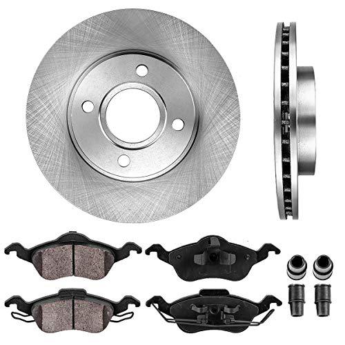 CRK13220 FRONT 258 mm Premium OE 4 Lug [2] Brake Disc Rotors + [4] Ceramic Brake...