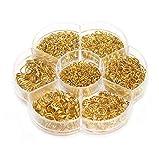 1 caja (1450 unidades) de varios tamaños de acero inoxidable cerrados para collares y pulseras, kits de joyería (3 mm, 4 mm, 5 mm, 6 mm, 7 mm, 8 mm, 10 mm) (oro)