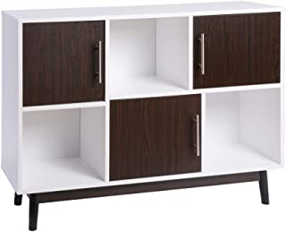 FIVEGIVEN White Modern Storage/Display Cabinet for Living Room with 3 Brown Walnut Doors/3 Cubes