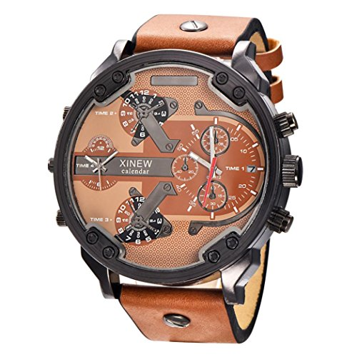 Rcool 2018 Edelstahl Uhr Leder Datum Analog Quarz militärischen Armee Dual Time Quarz große Zifferblatt Armbanduhren,schwarz (E)