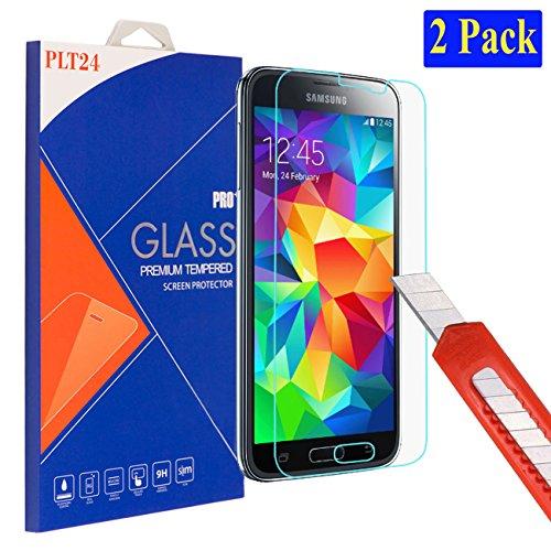 2X plt24 Ultra-Klar Glasfolie Panzer Schutzfolie Bildschirmschutzglas Glas Schutzglas Hartglas Glass kompatibel mit Samsung Galaxy S5 / S5 neo (2 Stück)