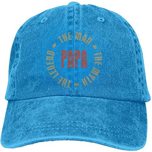 Womens&Men Unisex Sport Papa Man Myth Legend Caps Adjustable Strapback Blue