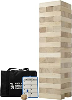 Giant Tumbling Timbers, Gentle Monster Wooden Toppling Tower, Classic Outdoor Games Stacking Toys for Adult Kids Family, Jumbo Hardwood Blocks Lawn Games 56Pcs 5 Feet