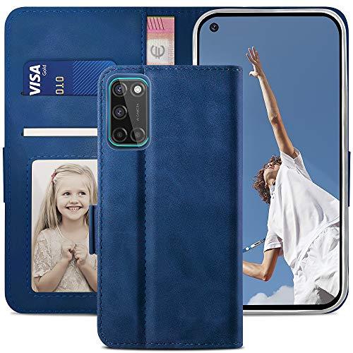 YATWIN Handyhülle Oppo A72 Hülle, Klapphülle Oppo A52 Premium Leder Brieftasche Schutzhülle [Kartenfach] [Magnet] [Stand] Handytasche Hülle für Oppo A72 Cover, Blau