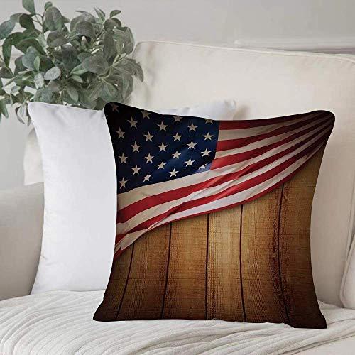 Funda de almohada, funda de cojín, decoración de la bandera americana, diseño de EE. UU. En forro vertical, madera rústica, retro, rústica, gloria, decoración del hogar, funda de cojín, cuadrado acoge