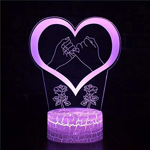 De la mano en forma de corazón rosa elegante base agrietada luz nocturna USB multicolor lámpara de mesa de acrílico 3D