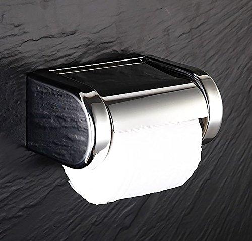 CCJW Toilettenpapierhalter Edelstahl Wasserdicht Wandeinbau Verchromt Mit Deckel Und Abnehmbarem Regal Modernes Design Rostfrei Badezimmer Toilettenpapierrolle/Taschentuchhalter Wandmontage