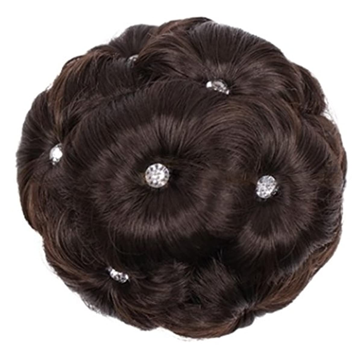 シロナガスクジラ熱心なそこDoyvanntgo 合成繊維髪の毛の拡張子は、ドリルナインフラワーヘッドと女性のためのスクーチーヘアピース (Color : 4#)