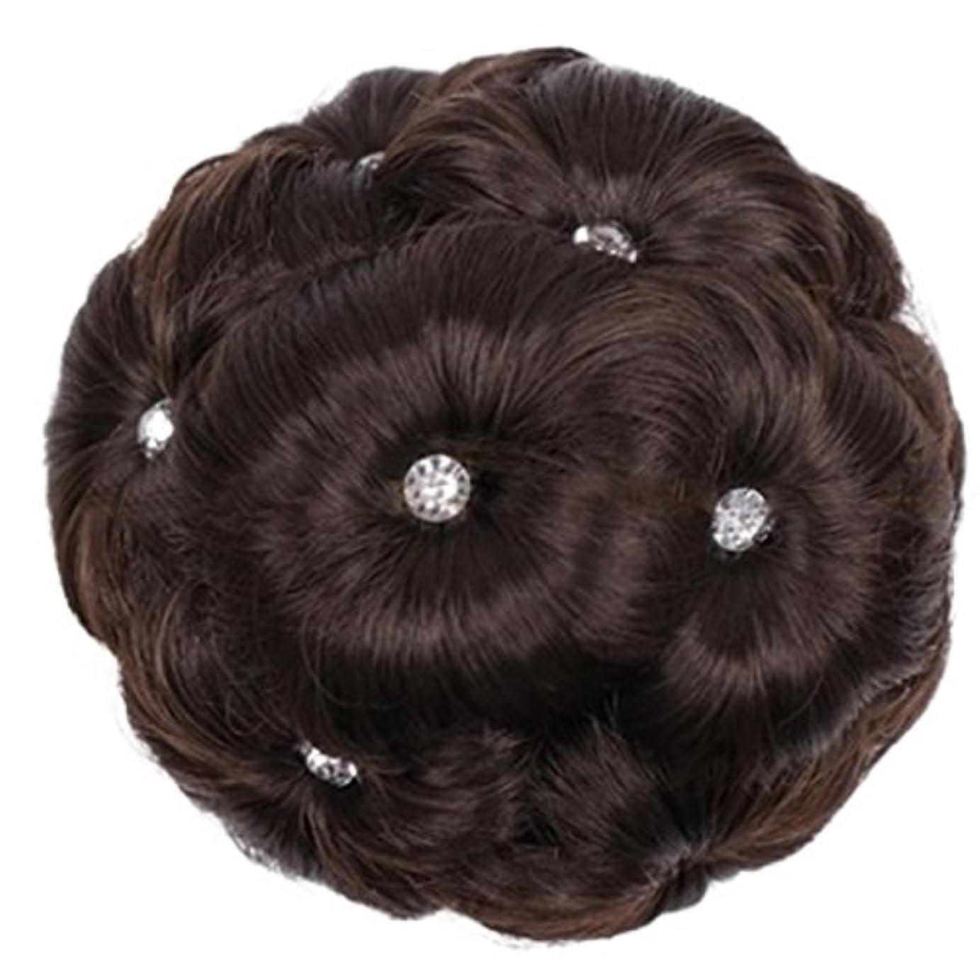 お風呂を持っているうがい薬エールDoyvanntgo 合成繊維髪の毛の拡張子は、ドリルナインフラワーヘッドと女性のためのスクーチーヘアピース (Color : 4#)