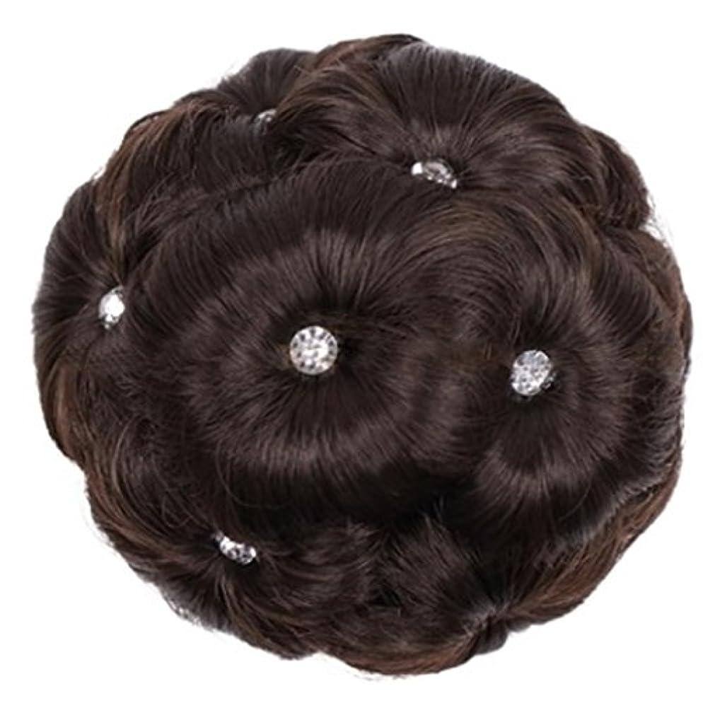 頭浜辺恐ろしいDoyvanntgo 合成繊維髪の毛の拡張子は、ドリルナインフラワーヘッドと女性のためのスクーチーヘアピース (Color : 4#)