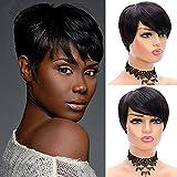 Short Wigs for Black Women,Short Human Hair Wigs Brazilian Hair 150% Density,Pixie Cut Wigs for Black Women,Short Human Hair Wigs for Black Women,Short Wig Pixie Cut Wig(1B)