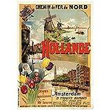Carteles de turismo de Holanda Holanda Hollande Amsterdam lienzo de pared clásico pintura cartel vintage decoración de bar para el hogar regalo-60x90 cm x1 sin marco