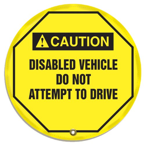 """Accuform KDD739 STOPOUT Vinyl Steering Wheel Message Cover, ANSI-Style Legend""""Caution Disabled Vehicle DO NOT Attempt to Drive"""", 24"""" Diameter, Black on Yellow"""