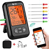 Te-Rich Wireless Meat Thermometer, Bluetooth Digital Food Grill Thermometer [Oven Safe/Timer/App Connected/] with 6 Temperature Probe for Smoker Grilling BBQ Turkey Kitchen Cooking Thermometer