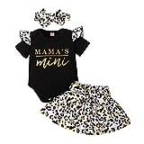 ESHOO Juego de 3 peleles de manga corta para bebé, diseño floral, pantalones y diadema, manga corta, diseño impreso Blanco A. 0-3 Meses