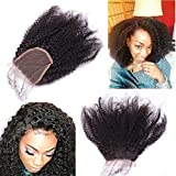 Nicewig 100% Raw Remy Virgin Mongolian 4b 4c Afro Kinky Curly Human Hair Lace Closure with baby hair 4'x4'Swiss Lace Free Part Bleached Knots 14'