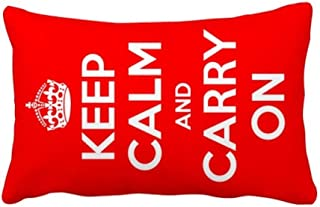 DIYthinker Quote Keep Calm and Carry On Red Throw Lumbar Pillow Insert Cushion Cover Home Sofa Decor Gift 16 inch x 16 inch
