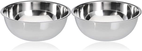 COM-FOUR® 2x roestvrijstalen mengkom - slakom - fruitschaal - metalen schaal - roestvrijstalen kom - serveerschaal - decor...