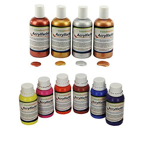 trendmarkt24 Acryl-Farben-Set Metallic 4 Farben + Acrylfarbe Set 6 Farben Je 150ml in Tuben/Flaschen flüssige Acryl-Farbe Malfarben Goldfarben für Holz, Glas, Gips, UVM 1560016360