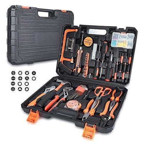 GRJKZYAM Ensembles D'outils Kit D'outils À Main avec Tournevis Pince À Clés Marteau pour Réparation Quotidienne Et Entretien avec Boîte De Rangement en Plastique Compacte
