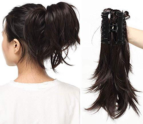 30 cm Ponytail Extension Haarteil Zopf Pferdeschwanz Haarverlängerung mit Butterfly-Klammer Flexibel wie Echthaar Dunkelbraun 95g-12
