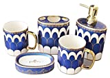 Dispensadores de jabón de encimera de baño, Conjunto de accesorios de baño de 5 piezas, colección de baños de cerámica con dispensador de jabón, soporte de cepillo de dientes, jabonera, vaso, caja de