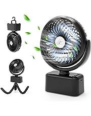 Draagbare USB-ventilator, mini-tafelventilator met automatisch oscillerend, stille handventilator met flexibel statief/5000 mAh accu/3 snelheden/12 ledlampen, ventilator voor kinderwagen, kantoor, tent