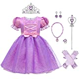 FYMNSI Disfraz de Rapunzel Niña Costume Princesa Sofia con Accesorios Trajes de Carnaval para Chicas Disfraces de Halloween Navidad Cumpleaños Cosplay Fiesta Rapunzel 02 3-4 Años