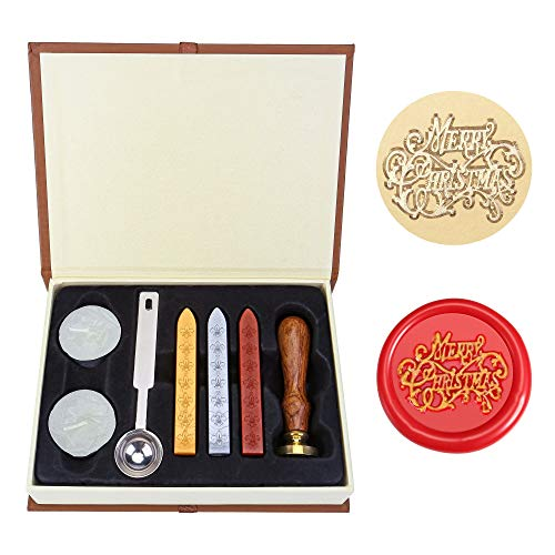 Merry Christmas Wax Seal Stamp Set, Yoption Classic Vintage Merry Christmas Seal Wax Stamp Set, Retro Merry Christmas Seal Stamps Maker Gift Box Set (Merry Christmas)