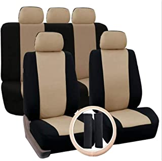 Car Seat Covers Full Set Front Rear Full Set Scratch Proof Washable Wheel Cover Durable Air Bag Compatible Steering zghzsc...