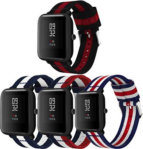 Simpleas Compatible con Amazfit GTR 42mm / GTS/Bip Correa de Reloj, Pulsera Deportivo de Reloj de Nylon, con Cierre de Clip, Respirable y Reemplazable (20mm, 4PCS A)