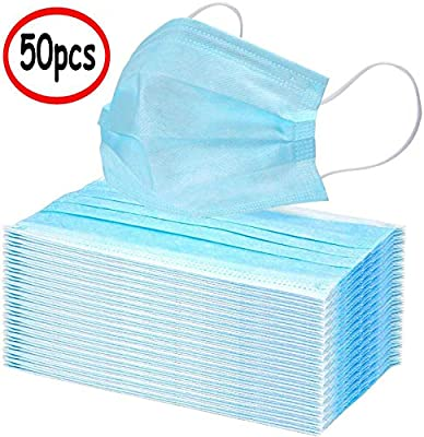 50Pcs Disposable 3-Layer Masks, Anti Dust Breathable Disposable Earloop Mouth Face Mask, Comfortable Medical Sanitary Surgical Masks Blue