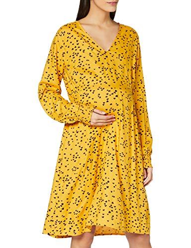 MAMALICIOUS Damen Mlheartsy L/S Woven Abk Dress A. Kleid, Gelb, XL EU