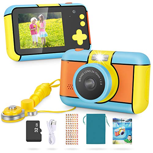 Magicfun Kids Camera - 24MP Dual Lens Kid Digital Camera Gifts for Boys Girls, 1080P 2.4'' Large LCD Blue Screen Video Camcorder, USB Rechargeable Selfie Camera with 32GB SD Card