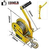RSHJD 1200lb Cabrestante Manual, Cabrestante Manual con Freno y Cable para Barco, Cabrestante Manual Portatil, Profesiónal Cabrestante Equipo, 25.6 * 10.7 * 20.3cm30m