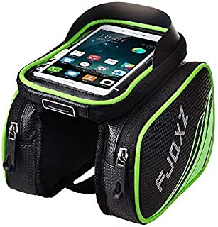 fjqxz Bike Bag Bike Bag for Cell Phone Bicycle Large Storage Bag Pouch Top Tube Bag Handlebar Saddle Bag with Touch Screen Phone Case Green