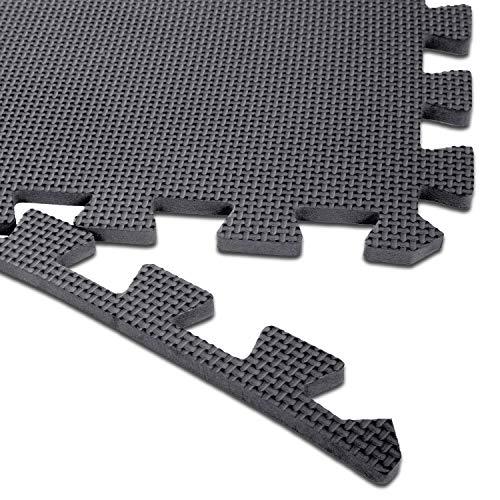 "arteesol Exercise Mats - 18 Tiles Protective Flooring Each 12"" x 12"", Premium Gym Mats EVA Interlocking Foam Tiles Workout Mats for Fitness Equipment Gym Equipment (Black-18pcs)"