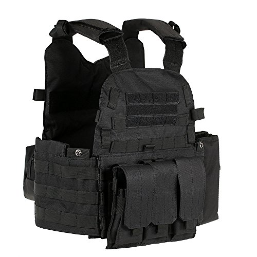 Lixada Outdoor Men's Modular Molle Vest Hunting Chest Rig Gear Load Carrier Vest with Hydration Pocket