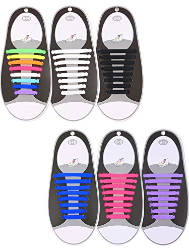 Hestya 6 Pairs No Tie Shoelaces Silicone Elastic Athletic Sport Shoe Lace (Black, White, Purple, Pink, Blue, Multi-color)