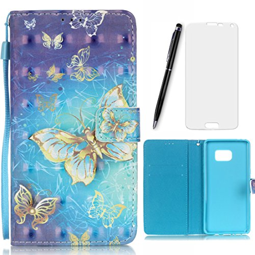 Lotuslnn Samsung Galaxy Note 7 Coque Papillon, Bleu,Dessin coloré Flip Wallet Cuir Etui Housse Case Cover pour Samsung Galaxy Note 7 -(Coque+ Stylus Stift+Screen Protector)