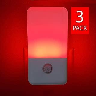 Sleep-Aid Red Night Light, Motion Detector LED Night Light with Light Sensor (3 Pack)
