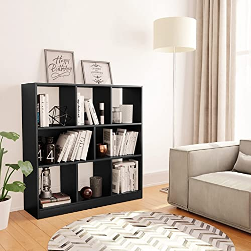 Book Cabinet With 8 Compartments Chipboard Bookcase Room Divider Black 97.5x29.5x100 cm by BIGTO
